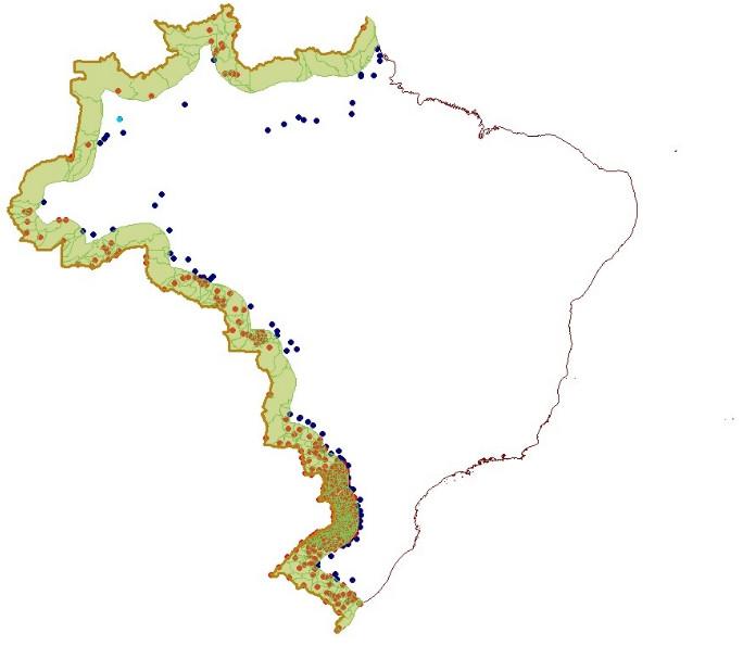 Mapa do Brasil com destaque dos municípios da faixa de fronteira